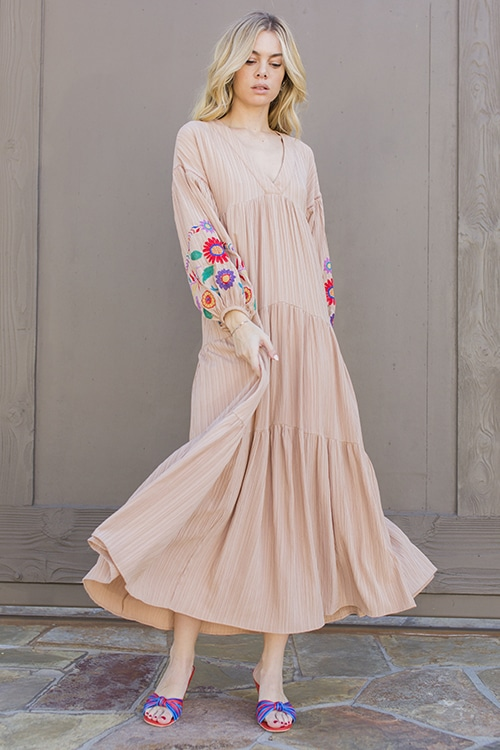 33f89bfe32f Embroidered Balloon Sleeve Maxi Dress Sand Pink